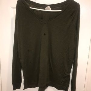 Green long sleeved V neck
